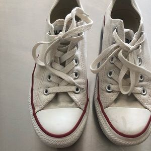SIZE 6 White Converse Sneakers, shows wear